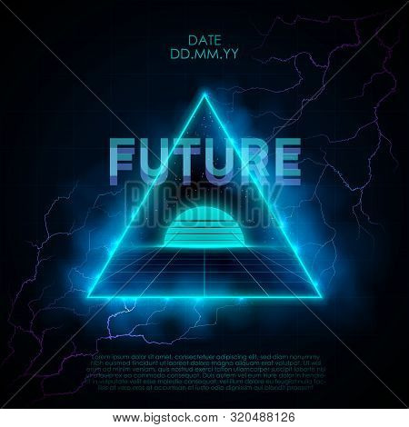 Retrowave Style Illustration With Neon Triangle Portal Leading To Retrofuturistic Place With Laser G