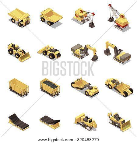 Mining Machinery Isometric Icons Set With Dump Trucks Excavators Carts Isolated On White Background