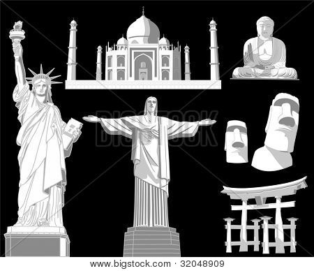 illustration of world famous monument poster