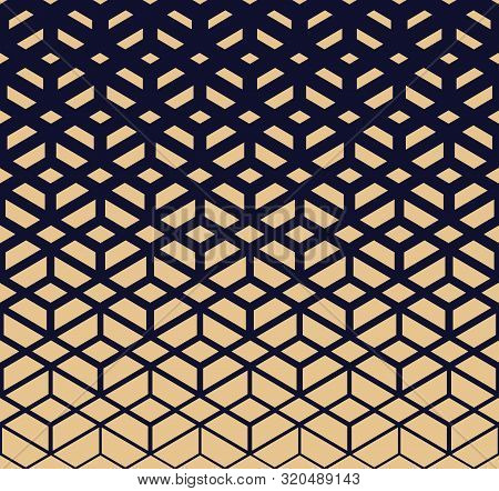 Abstract Geometric Pattern. Modern Vector Background. Gold And Dark Blue Halftone. Graphic Modern Pa