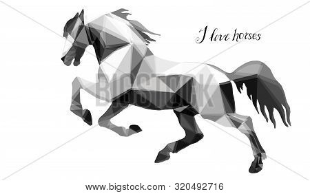 Prancing Horse, Vector-isolated Image On A White Background In The Style Of Low Poly And Lettering
