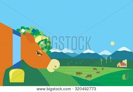 Hand Drawn Rural Nature Landscape Cows Farm Flat Vector. Farming Mammals Herd On Mountain Green Vall