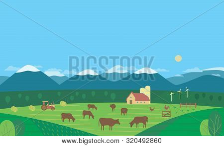 Hand Drawn Rural Nature Landscape Cows Farm Flat Vector. Farming Cow Mammals Herd On Mountain Green