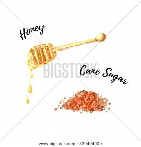 Brown Cane Sugar And Liquid Honey Dripping From The Honey Dipper Watercolor Illustration Isolated On