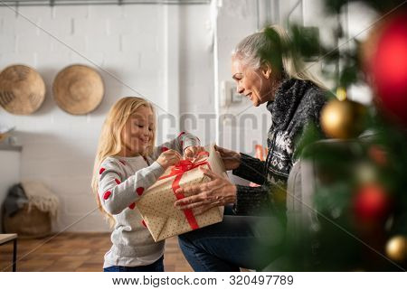 Happy grandmother giving christmas present to excited granddaughter. Cheerful little girl opening christmas gift with old woman. Lovely grandma and child exchange gifts on christmas eve under the tree