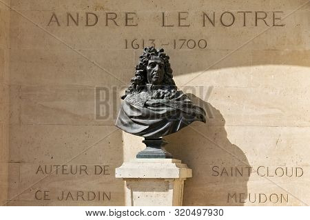 Paris, France - June 23, 2017: Bust Of The Andre Le Notre In The Tuileries Park. He Was A French Lan