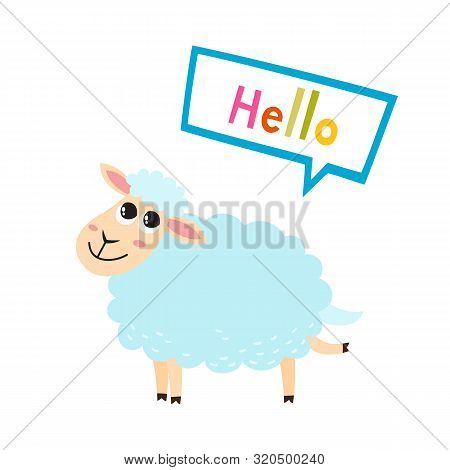 Vector Illustration Of Cartoon Funny Sheep Isolated On White Background.