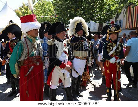 Ajaccio City, Corsica Island, France-august 14, 2019 : The Reenactors Dressed As Napoleon Epoch Sold