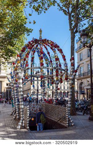 Paris, France - September 02 2019: Le Kiosque Des Noctambules, Palais Royal Metro Entrance At Place