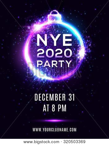 New Year Eve 2020 Party Poster On Dark Blue Background. Nye Beautiful Holiday Banner, Hanging Xmas B
