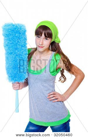 Teenage girl holding blue duster in hand