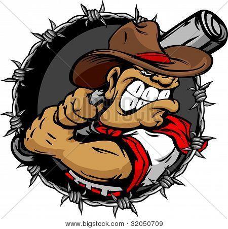 Tough Cowboy Baseball Player Holding Baseball Bat