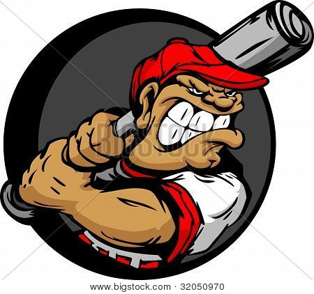 Tough Baseball Player Holding Baseball Bat