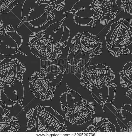 Angler Background. Deep Sea Fish Pattern Seamless. Vector Texture