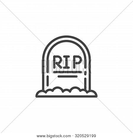 Rip Grave Line Icon. Headstone Linear Style Sign For Mobile Concept And Web Design. Halloween Tombst