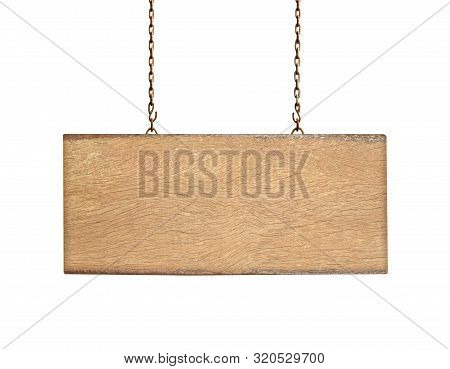 Wooden Sign On The Chains Isolated On White