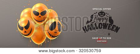 Halloween Sale Horizontal Banner. Vector Illustration Realistic Orange Air Balloons With Scary Smile