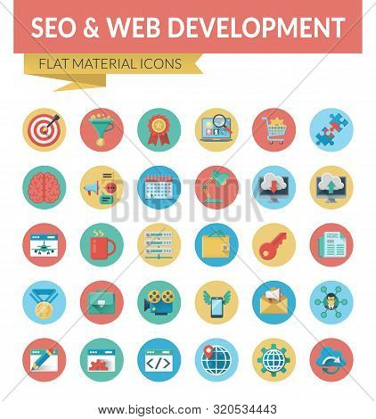 Seo Web Development. Trendy Material Design Icons Pack For Designers And Developers. Icons For Seo A