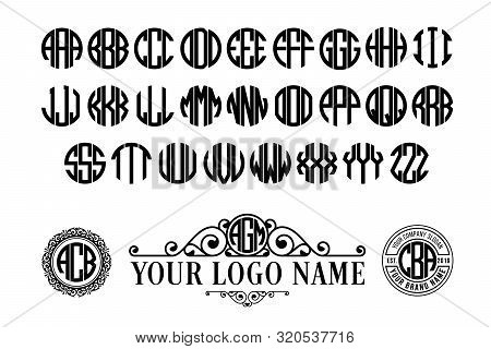 Circle font with 3 letters. Monogram vintage alphabet with spiral classic.