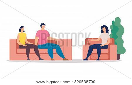 Family Therapy Trendy Flat Vector Concept. Married Couple, Wife And Husband Visiting Psychotherapy C