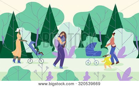 Mothers Go With Children In Park, Cartoon Flat. Young Women Carry Babies In Wheelchairs, Walking Amo