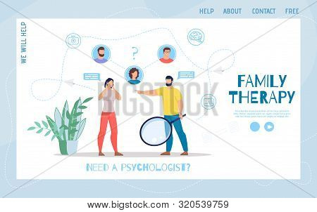 Family Therapy, Psychological Help In Marriage Crisis Online Service Flat Trendy Vector Web Banner,