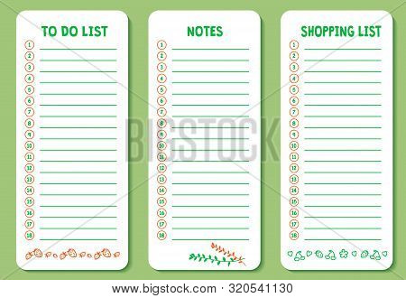Set Of To Do List, Shopping And Notes List With Cute Doodle Icons. Works Well As Planner, Organizer,