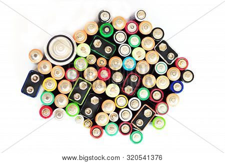 Battery Recycling Isolated On White Background Recycling Batteries And Battery Recycling Signs. Batt
