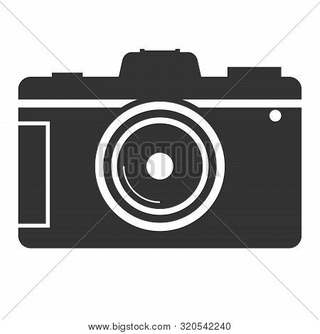 Simple Flat Black And White Dslr Camera Icon Vector Illustration