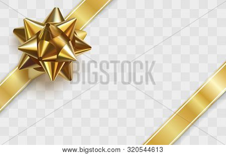Glossy Golden Bow. Realistic Vector Illustration. Glowing Bow With Two Gold Ribbons Isolated On Tran