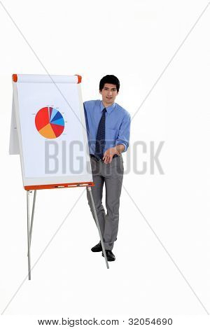 Man stood by flip-chart giving presentation