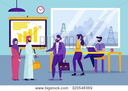 Business Partners In Office. Office Workers. Partnership In Business. Vector Illustration. New Techn
