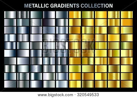 Silver And Golden, Yellow Glossy Gradient, Gold Metal Foil Texture. Color Swatch Set. Collection Of