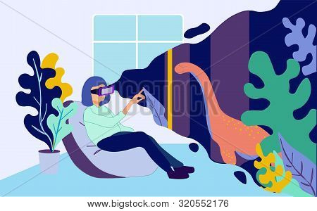 Woman In Vr Glasses Sitting At Home In Armchair Watch Prehistoric Predator Dinosaur At Virtual Augme
