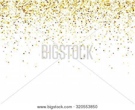 Sparkling Golden Glitter On White Vector Background. Falling Shiny Confetti With Gold Shards. Shinin