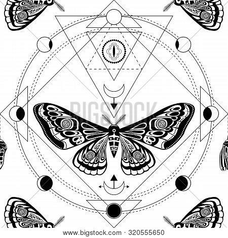 Night Moth. Sacred Geometry, Esoteric Symbols. Black And White Vector Illustration. Seamless Pattern