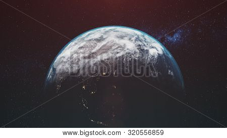 motion graph planet Earth with halo rotates against Milky Way orange Sun in dark space goes below horizon. 3d animation. Science and technology concept. Elements of this media furnished by NASA