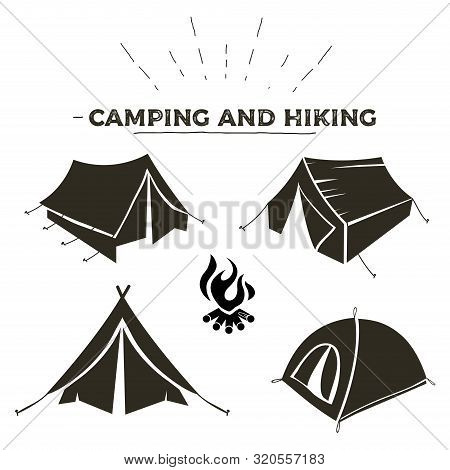 Camping And Hiking Tent Types In Outline Design. Tourist Tents Icons Collection. Logo Or Label Templ