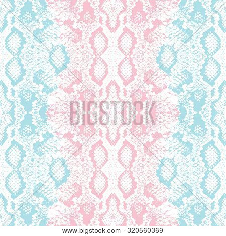 Snake Skin Scales Texture. Seamless Pattern Pink Blue Isolated On White Background. Simple Ornament,