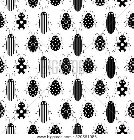 Flat Line Vector Seamless Pattern Wildlife Fauna Bug, Scarab. Simplified Retro Cartoon Style. Insect