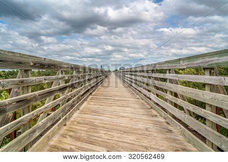 multi-use recreational Cowboy Trail in northern Nebraska - a long trestle over Long Pine Creek
