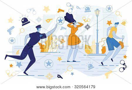 Police Officer Chasing Thief With Stolen Gitrl Bag Flat Cartoon Vector Illustration. Bodyguard Runni