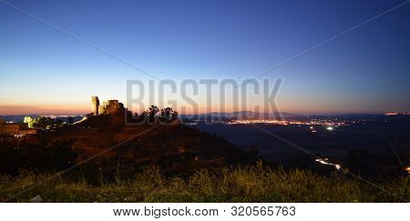 Beautiful Nightscape With The Medieval Castle In The Foreground, Mazzarino, Caltanissetta, Sicily, I