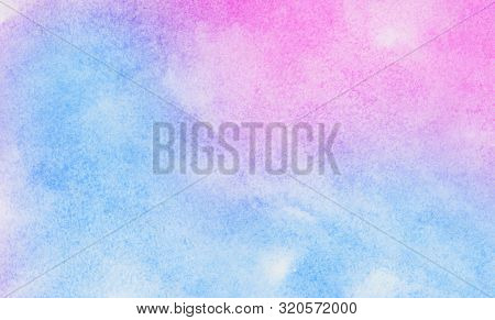Bright Creative Smeared Blue, Purple And Pink Shades Aquarelle Background For Vintage Card, Retro Te