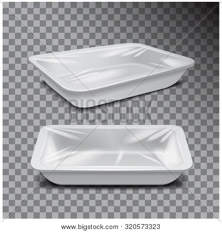 Styrofoam Food Storage. White Food Plastic Tray, Dark Foam Meal Container On Transparent Background