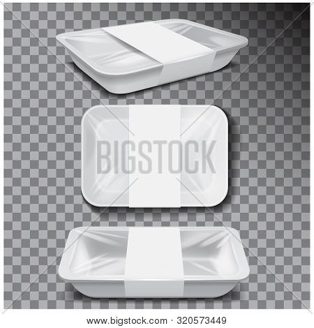 Styrofoam Food Storage. White Food Plastic Tray, Dark Foam Meal Container, Empty Box For Food Vector