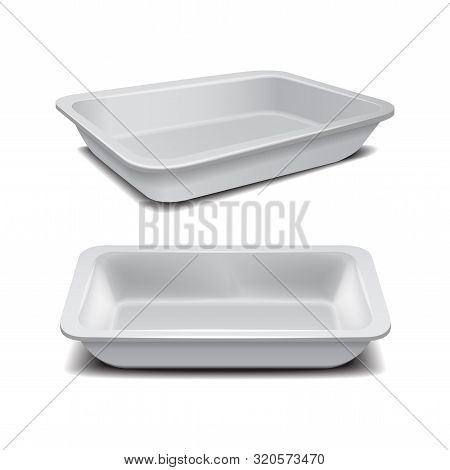 White Styrofoam Food Storage. Food Plastic Tray, Dark Foam Meal Container, Empty Box For Food Vector