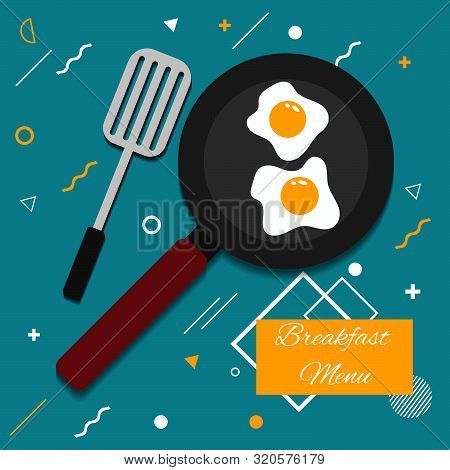 Vector Pan Egg Menu Minimal Flat  Design Eps 10 Vector