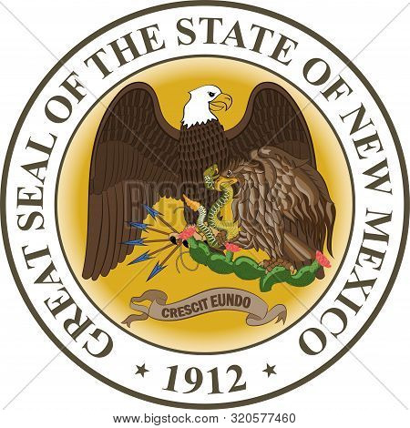 Coat Of Arms Of New Mexico Is A State Of United States. Vector Illustration