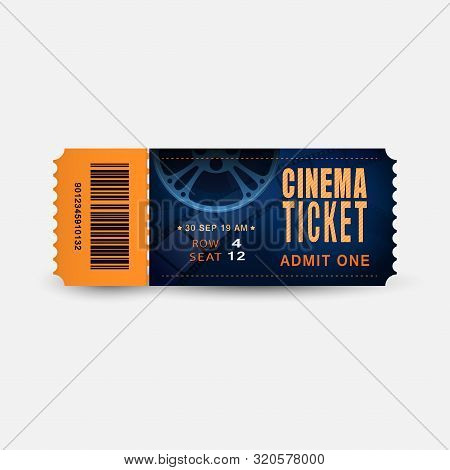 Cinema Ticket Close Up Top View Isolated On White Background. Realistic Admission Pass Mockup Or Per